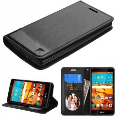LG LS751 Volt 2 Black/Black wallet with Card Slot