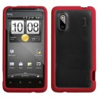 HTC Hero Transparent Clear/Solid Red Gummy Cover