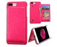 Apple iPhone 7 Plus Hot Pink Flip Wallet Executive Protector Cover(with Snap Fasteners)