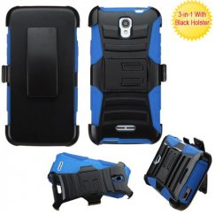 Alcatel One Touch Elevate Black/ Blue Advanced Armor Stand Case with Black Holster