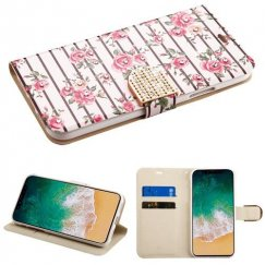 Apple iPhone X Pink Fresh Roses Diamante Wallet with Diamante Belt