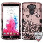 LG G Vista Black Lace Flowers (2D Rose Gold)/Black Hybrid Phone Case - Military Grade
