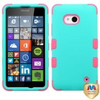 Nokia Lumia 640 Rubberized Teal Green/Electric Pink Hybrid Case