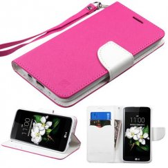 LG K7 Hot Pink Pattern/White Liner wallet with Lanyard