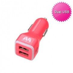 Electric Pink Car Charger Adapter with Dual USB output - 3.1 Amps