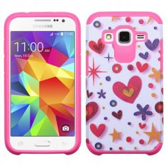 Samsung Galaxy Core Prime Heart Graffiti White/Hot Pink Advanced Armor Case