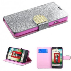 LG Optimus L70 Silver Glittering Wallet with Diamante Belt