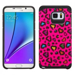 Samsung Galaxy Note 5 Colorful Glittering Leopard Skin Hot Pink/Black Advanced Armor Case