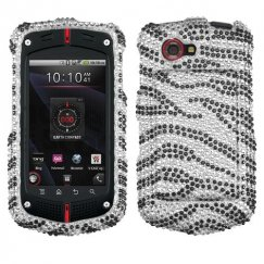 Casio GzOne Commando 4G LTE Black Zebra Skin Diamante Case