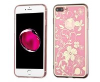 Apple iPhone 7 Plus Phoenix-tail Flowers Electroplating (Pink)/Transparent Clear Gummy Cover