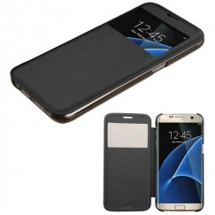 Samsung Galaxy S7 Edge Black Silk Texture Wallet with Transparent Frosted Tray