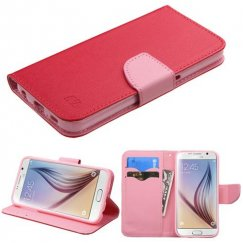 Samsung Galaxy S6 Red Pattern/Pink Liner Wallet with Card Slot