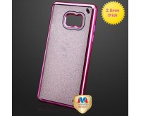 Hot Pink/Transparent Clear Sheer Glitter Electroplated Premium Candy Skin Cover