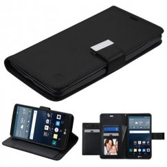 LG G Stylo Black/Black PU Leather Wallet with extra card slots