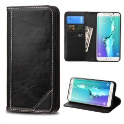 Samsung Galaxy S6 Edge Plus Black Genuine Leather Wallet