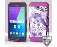 Samsung Galaxy J3 Purple Hibiscus Flower Romance/Electric Purple Hybrid Protector Cover [Military-Grade Certified]