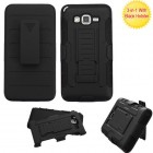 Samsung Galaxy Grand Prime Black/Black Advanced Armor Stand Case with Black Holster