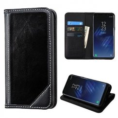 Samsung Galaxy S8 Plus Black Genuine Leather Wallet