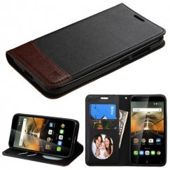 Alcatel One Touch Conquest Black/Brown wallet with Card Slot