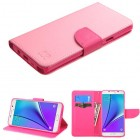 Samsung Galaxy Note 5 Pink Pattern/Hot Pink Liner Wallet (with card slot)