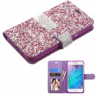 Samsung Galaxy J7 Purple Mini Crystals with Silver Belt Wallet