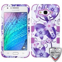 Samsung Galaxy J7 Purple Hibiscus Flower Romance/Electric Purple Hybrid Case