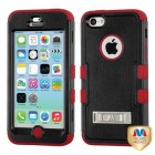 Apple iPhone 5c Natural Black/Red Hybrid Case with Stand