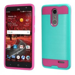 ZTE Grand X 4 Teal Green/Hot Pink Brushed Hybrid Protector Cover