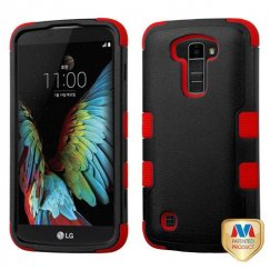 LG K10 Natural Black/Red Hybrid Case