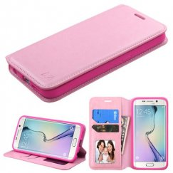 Samsung Galaxy S6 Edge Pink Wallet with Tray