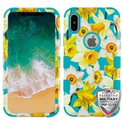Apple iPhone X Spring Daffodils/Tropical Teal Hybrid Case Military Grade