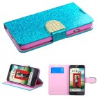 LG Optimus L70 Blue Glittering Wallet with Diamante Belt