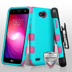 LG X Power 2 Natural Teal Green/Electric Pink Hybrid Case Military Grade with Black Horizontal Holster