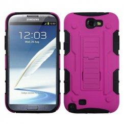 Samsung Galaxy Note 2 Hot Pink/Black Car Armor Stand Case - Rubberized