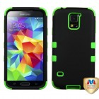 Samsung Galaxy S5 Rubberized Black/Electric Green Hybrid Phone Protector Cover