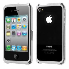 Apple iPhone 4/4s Silver Surround Shield with Chrome Coating Metal
