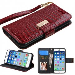 Apple iPhone 6/6s Burgundy Crocodile-Embossed Wallet