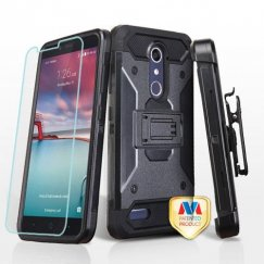 ZTE Grand X Max 2 Black/Black 3-in-1 Case Combo with Black Holster with Twin Screen Protectors