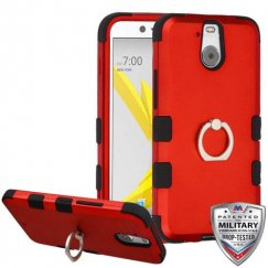 HTC Bolt Titanium Red/Black Hybrid Case with Metal Ring Stand