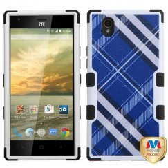 ZTE Warp Elite Blue Diagonal Plaid/Black Hybrid Case