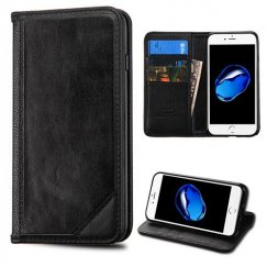 Apple iPhone 8 Black Genuine Leather Wallet