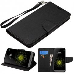 LG G5 Black Pattern/Black Liner wallet with Lanyard