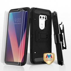LG V30 Black/Black 3-in-1 Kinetic Hybrid Case Combo with Black Holster and Twin Screen Protectors