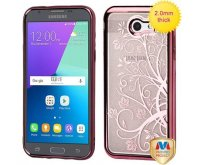 Samsung Galaxy J3 Rose Gold Electroplating/Maple Vine Sheer Glitter Premium Candy Skin Cover