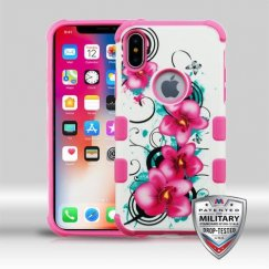 Apple iPhone X Morning Petunias/Hot Pink Merge Hybrid Case Military Grade