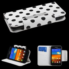 Samsung Epic 4G Touch (Galaxy S2) Black Polka Dots /White Frosted Book-Style Wallet with Card Slot