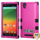 ZTE ZMax Natural Hot Pink/Black Hybrid Case with Stand