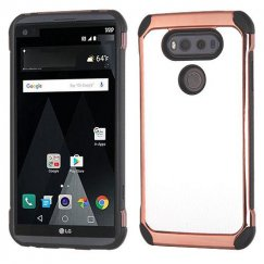 LG V20 White Lychee Grain Rose Gold Plating/Black Astronoot Case