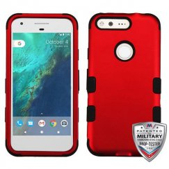 Google Pixel XL Titanium Red/Black Hybrid Case - Military Grade