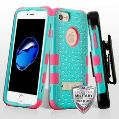Apple iPhone 8 Natural Teal Green/Electric Pink Hybrid Case with Diamonds and Black Horizontal Holster